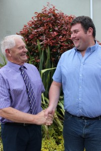 ITLUS President, Anthony Collins, congratulates Denis Dunne from Rathangan, Co Kildare who is the first recipient of the ITLUS/Rosenbohm farm internship in Missouri in the US. Denis will depart for the US in early August.